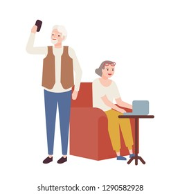 Elderly couple using modern devices. Grandmother working on laptop and grandfather taking selfie on smartphone. Smiling old man and woman, happy retirement. Vector illustration in flat cartoon style.