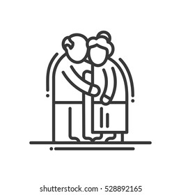 Elderly couple - vector line design single isolated icon. Old man and woman standing together