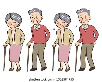 Elderly couple walking with a cane