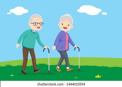 Elderly couple walking. Old senior man and woman walking together. Grandparents together on walk at park in summer. grandmother with walker and grandfather cane among green field.