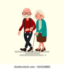 Elderly couple walking. Vector illustration of a flat design
