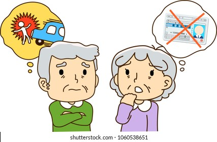 Elderly couple,anxiety, driving license.Text means driving license.