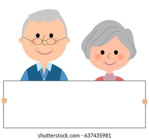 Elderly couple,White board