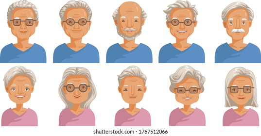 Elderly face set. Elderly  head and hairstyles character creation. Eye, mouth, nose, eyebrows, glasses and hairstyles. The old femail and male smiling face. vector