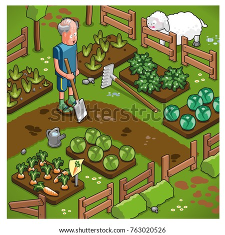 Elderly farmer working in garden with vegetable beds (isometric view)
