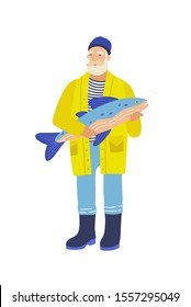 Elderly fisher flat vector illustration. Gray bearded man with big fish. Old fisherman cartoon character. Angler holding fish catch, standing old-aged man isolated on white background.