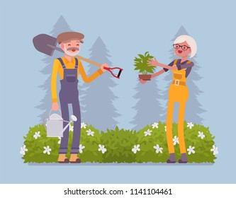 Elderly gardeners working. Happy man, woman in a green garden with a spade, growing, taking care of plants, cultivates homegrown flowers, veggies, enjoy hobby. Vector flat style cartoon illustration
