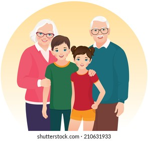 Elderly grandmother, grandfather and grandson and granddaughter/Grandparents and their grandchildren/A group of members of the family: grandmother, grandfather and grandchildren