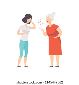 Elderly gray haired woman yelling at frustrated young woman, mother scolding her adult daughter vector Illustration on a white background