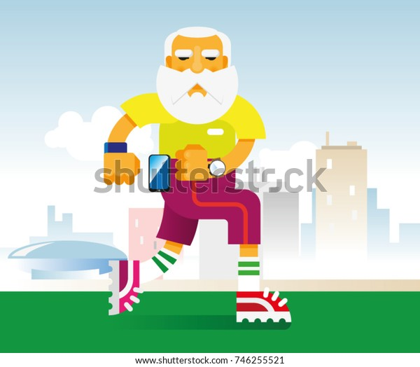 an elderly gray-haired bearded man in bright sneakers jogging along the path in the city park