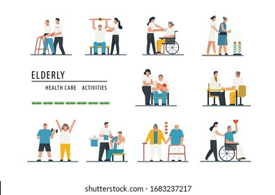 elderly health care, old people care, nursing home care activities for senior, faceless flat cartoon character design set