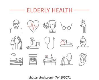 Elderly health line icons set. Retirement cartoon vector design. Vector infographics.