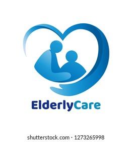 Elderly healthcare heart shaped logo. Nursing home sign