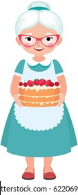 Elderly housewife grandmother wearing glasses and apron holding a homemade cake cartoon vector illustration
