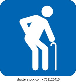 Elderly icon pictogram special needs, blue. Ideal for catalogs, information and institutional material