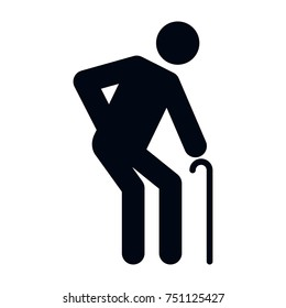 Elderly icon pictogram special needs, black. Ideal for catalogs, information and institutional material