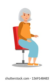 Elderly Lady Sitting in Chair Flat Illustration. Old Lady, Woman Isolated Character. Retired Female Worker, Pensioner. Cartoon Grandmother, Granny, Aged Aunt. Lonely Person, Distant Relative, Widow