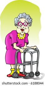 Elderly Lady with Walker