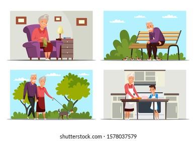 Elderly lifestyle flat vector illustrations set. Senior woman knitting, man feeding birds, granny and granddaughter cooking design elements. Grandparents walking with dog, happy retirement