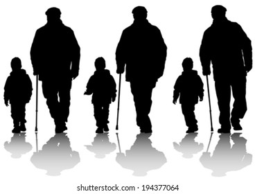 Elderly man with cane and child on street