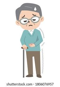 Elderly man with a cane for hemiplegia