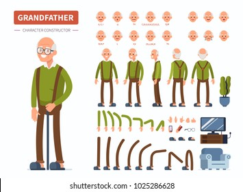 Elderly man character constructor for animation. Front, side and back view. Flat  cartoon style vector illustration isolated on white background.