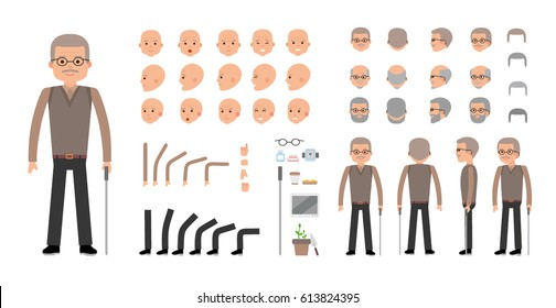Elderly Man character creation set. The old man retired. Icons with different types of faces and hair style, emotions, front, rear side view of male person. Moving arms, legs Vector flat illustration