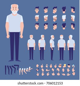 Elderly man character creation set with various views, hairstyles, poses and gestures. Front, side, back view animated character. Cartoon style, flat vector illustration.