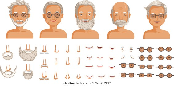 Elderly man face set. Elderly man head character creation. Eye, mouth, nose, eyebrows, mustache, beard, and hairstyles. The old man's smiling face. vector