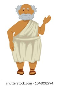 Elderly man Greek philosopher in robe and sandals isolated male character nationality or ethnicity Ancient Greece history scholar or antique scientist grey hair and beard teacher wisdom and antiquity