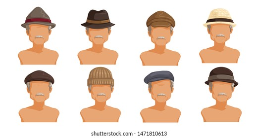 Elderly man hat set. Collection of men's head.  Userpics of hair style different male. Variety and different types of fashion. Vector illustration.