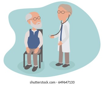 Elderly Man having health examination from Doctor with stethoscope - vector characters body parts grouped and easy to edit - limited palette