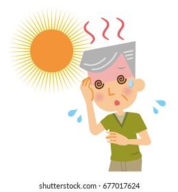 An elderly man with heatstroke.