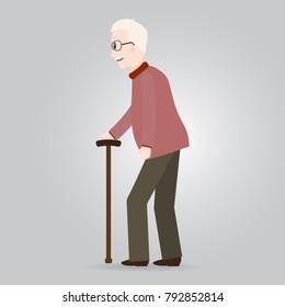 Elderly man, old people icon vector illustration