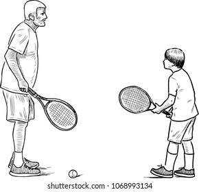 An elderly man playing tennis with his grandson