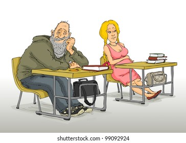 Elderly man and a pregnant woman sitting to the classroom
