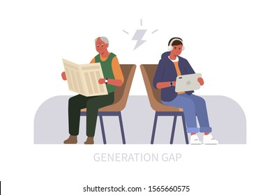 Elderly Man reading Newspaper, Teenage Boy using Tablet. Two People Characters Arguing. Baby Boomer and Millennial or Generation Z Conflict. Generation Gap Concept. Flat Cartoon Vector Illustration.