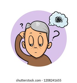 Elderly man scratching his head trying to remember or feeling confused. Confusion, memory loss. Colorful flat design icon. Flat vector illustration. Isolated on white background.