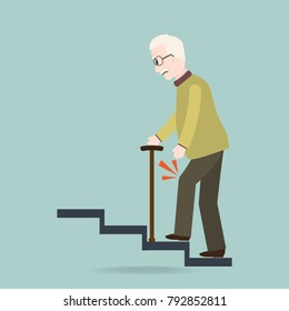 Elderly Man with stick and injury of the knee . old people symbol vector illustration