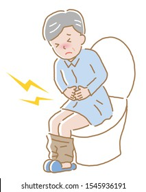 elderly man suffering from abdominal pain on toilet seat.  Diarrhea, constipation, and period pain symptoms. Health care concept