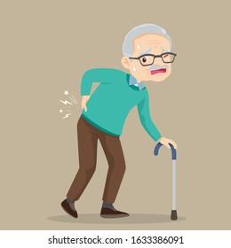 elderly man suffering from back pain.Old man with a cane.Grandfather suffering from back pain. Senior man sick.Senior disease.
