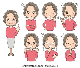Elderly man with various expressions