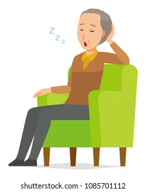 An elderly man wearing brown clothes is sleeping on a sofa