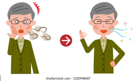 An elderly man who is rejoicing with improved bad breath