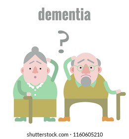 Elderly man and woman with dementia in confused state of mind.