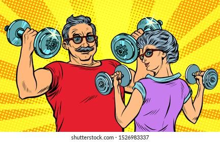 an elderly man and woman grandma grandpa retired in sports, fitness dumbbell. Pop art retro vector illustration drawing vintage kitsch
