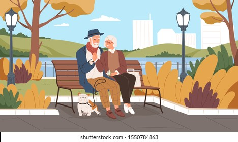Elderly man and woman have a date in the park. Romantic couple sitting on a bench and smiling. Two senior lovers spend time together. Happy grandparents walk. Vector illustration in flat cartoon style