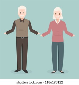 Elderly man and woman icon, good health for elder concept illustration