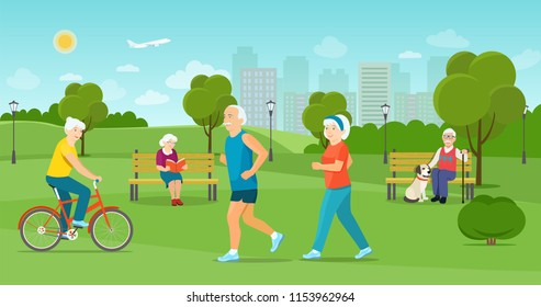 The elderly man and the elderly woman run in the park. Old man and woman sitting on the bench  in the park. Old man riding a bicycle Vector flat illustration
