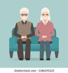 Elderly man and woman sitting on sofa icon.  illustration